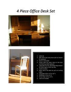 4 Piece Solid Wood Desk Set