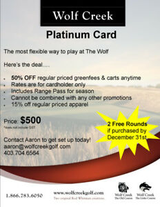 Wolf Creek Platinum Card - Save 50% on Golf & Carts
