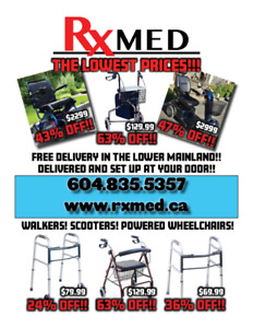 Walkers! Rollators! Scooters! Wheelchairs! Up to 65% OFF!