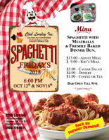 SPAGHETTI FRIDAY DINNER -  NOV 16, 2018