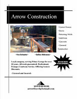 ARROW CONSTRUCTION~ BOOKING NOW FOR SPRING!