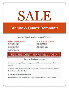 OTTAWA'S BEST MASSIVE Granite & Quartz remnants vanity sale.