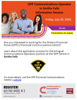 OPP Communications Operator in Smiths Falls Information Session
