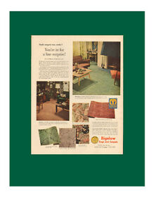 Large (10 ¼ x 14 ¼) 1950 full-page color print ad - Bigelow Rugs