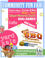 OPAL FAMILY SERVICES COMMUNITY FAIR & YARD SALE June 24th