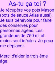 Récupération de pots Mason