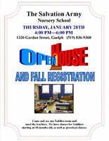 The Salvation Army Nursery School Open House & Fall Registration