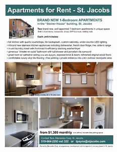 Beautiful Apartments for rent in St. Jacobs,Available immediatly