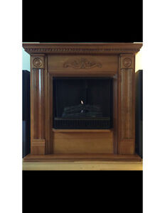 $300 obo Indoor Fireplace Oak Real Flame No Gas