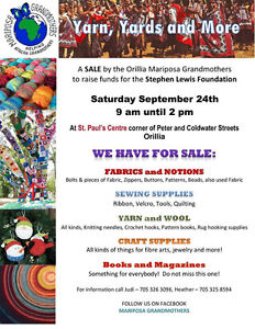 YARDS AND YARNS SALE IN ORILLIA