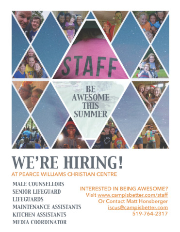 Summer Camp staff needed. Multiple positions available!