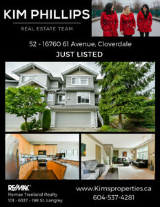 JUST LISTED - 4 Bedroom END unit Townhome in Cloverdale