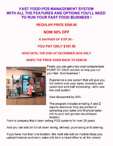 CHANGE YOUR FAST FOOD CASH REGISTER TO A POS SYSTEM - AT 50% OFF