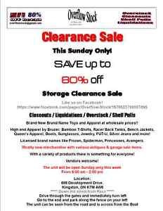 Storage unit clearence prices ranging from $1.00 to $20.00