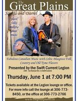 Concert with Saskia and Darrel at Swift Current Legion.