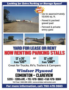 Now Renting Stalls 12'x35' & 12'x60' c/w 24hr monitored video ..