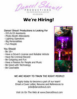 Now Hiring DJ's and Photo Booth Operators