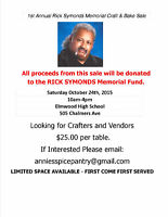 1st Annual Rick Symonds Memorial Craft & Bake Sale