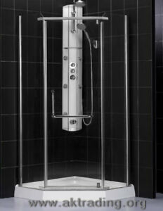 Neo-angle and glass round shower stalls.