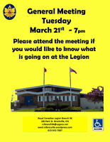 Brockville Legion General Meeting Tuesday March 21st @ 7:00pm