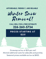 RESIDENTIAL WINTER SNOW REMOVAL - Affordable Friendly Reliable