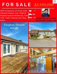 HUGE 14ksq ft  property for sale in Vaughan . Over 3.5 acres