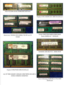 Laptop and desktop memory modules of various types