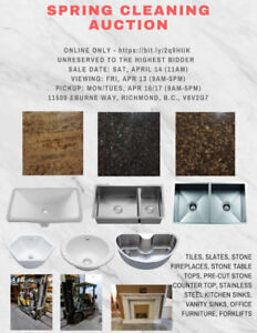 AUCTION!! TILE, SLATE, STAINLESS SINKS, VANITY, MARBLE FIREPLACE
