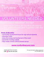 VOLUNTEERS NEEDED - RUN FOR THE CURE WINDSOR