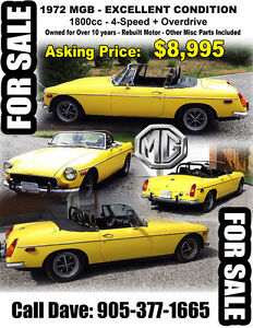 Classic 1972 MGB - Excellent Condition