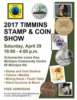 TIMMINS COIN AND STAMP SHOW APRIL 29