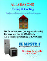 Furnace & Air Conditioner starting at $37.99 and $39.99 monthly