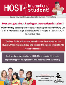 MLI is seeking new host families for international students!