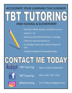 Math & English Tutoring in Bowmanville/Courtice/Oshawa/Whitby