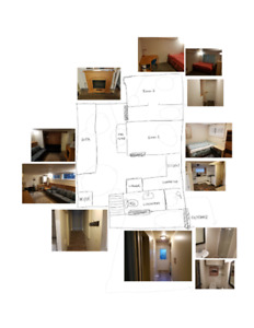 2 br furnished suite with kitchen, washroom, and washer