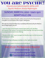 Workshop: You Are Psychic! MARCH 6, 2016 - 10AM-1PM