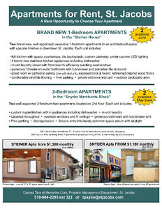 Beautiful Apartment in St. Jacobs - Available June 1