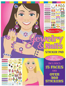 Melissa & Doug Glitter Collection Sticker Pad– Jewelry and Nails