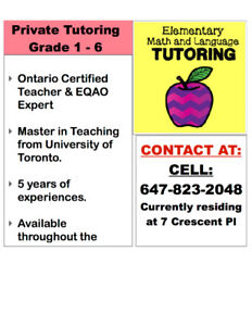 Tutoring Grade 1-6 (All Subjects)