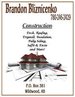 Drywall boarding and tape flooring siding roofing decks painting