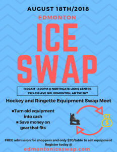 Hockey and Ringette Swap Meet- August 18th- Register Today