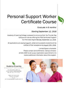 Certified PSW Course starts September 12!  Graduate in 8 months!