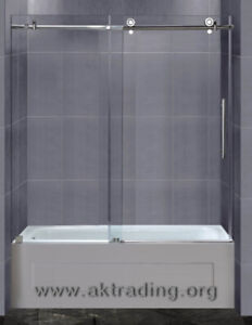 Replace shower curtain with tub glass doors.Tub doors not only