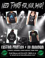 Need t-shirts for your band? Custom printing, no minimum.
