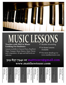 PhD in Music, Matthew Tozer, offeriing music lessons! London Ontario image 2