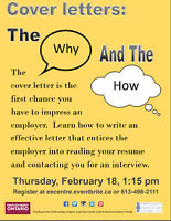 Cover Letters - Why and How - EEC on February 9 and 18