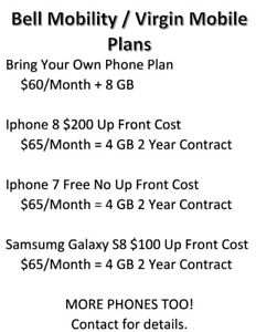 Bell Mobility/Virgin Mobile Phone Plans