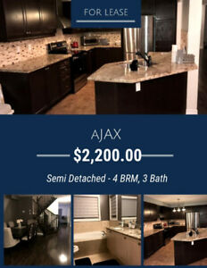 For Lease in Ajax, Durham - Semi Detached - 4 BDRN, 3 WSRM