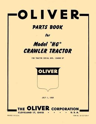 Oliver Hg Crawler Tractor Parts Book Manual List Ol