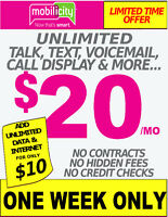 MOBILICITY $20/MO UNLIMITED TALK TEXT + DATA - ONE WEEK ONLY!!!!